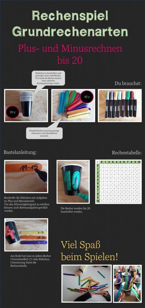 Das Plakat zeigt mehrere Fotos zu einem Lernspiel mit Bechern und Stäbchen auf denen die Aufgaben stehen