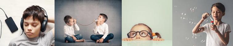 4 Bilder von Kindern. Ein Junge mit Kopfhörern, 2 Jungs sprechen über ein Büchsentelefon, ein Mädchen schaut über die Tischkante, ein Junge bläst Seifenblasen