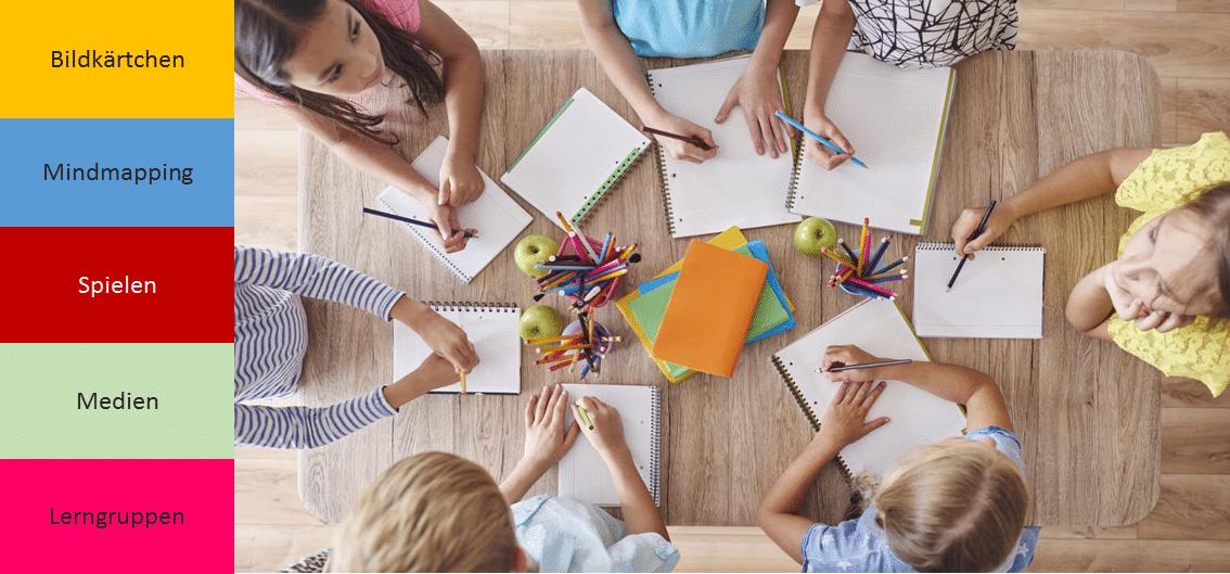 6 Kinder sitzen am Tisch von oben fotografiert