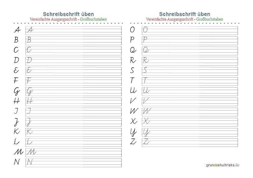 Arbeitsblatt: Vereinfachte Ausgangsschrift Grundschule